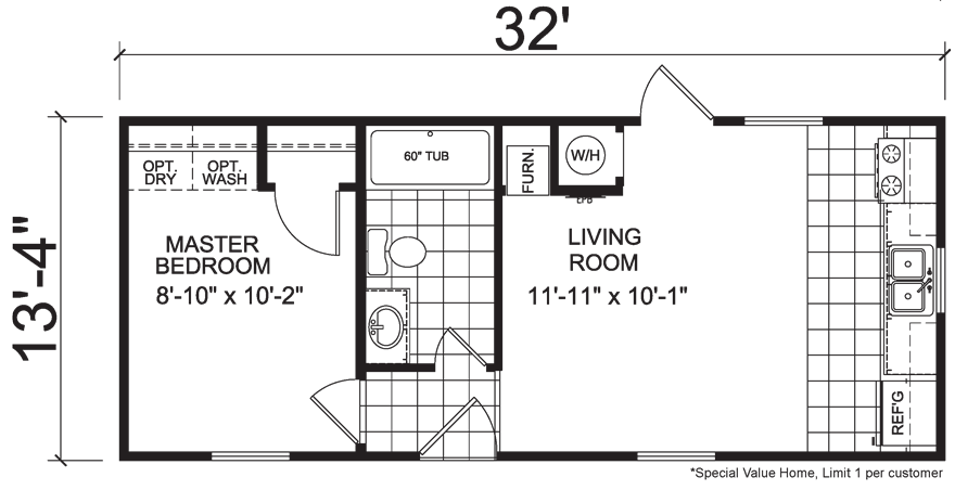 Micro 14 X 32 Single Wide HUD Mobile Home