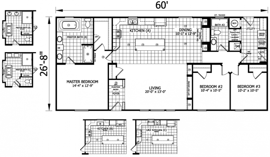Merrick 28 x 60 1600 sqft mobile home factory expo home for 14 x 60 mobile home floor plan